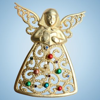 Vintage JJ Singing Angel Christmas Enameled & Rhinestone Pin