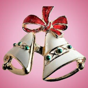 """Vintage Enameled Trembler Christmas Bells Pin Signed """"SFJ"""""""