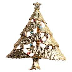 Vintage Christmas Tree Pin with Rhinestones