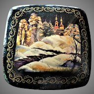 "Russian Hand Painted Lacquer Wooden Snow Scene / Cathedral Pin ""Zuma"" Exquisite"