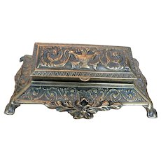 Large Victorian Footed Tiered Brass Stamp / Trinket Box