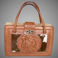 Large 1960s Hand Tooled Leather & Cowhide Mexico Mexican Purse