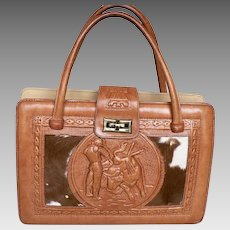 Vintage 1960s Mexican Tooled Leather Handbag Aztec Calendar and   My ... a5d7ecc2936e2