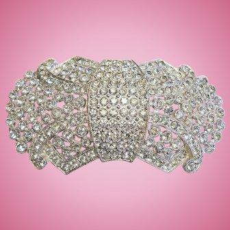 Large Rhodium Plated Sparkly Rhinestone Bow Pin Circa 1920-1930