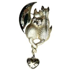 "Large Cats and Moon Pin Signed ""AJC"" Cats in Love"