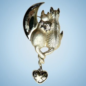 """Large Cats and Moon Pin Signed """"AJC"""" Cats in Love"""