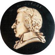 Vintage French Plaster Plaque Picture Sculpture W.A. Mozart Slip Design