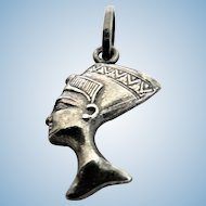 Beautiful Egyptian Nefertiti Head Profile Sterling Silver Charm