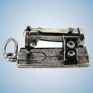 Vintage Sterling Silver Detailed Sewing Machine Charm