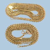 "Vtg. 1960's Les Bernard Rhinestone Chain Necklace Chains Set in Gold Tone (2) - (24"") & (36.5"")"