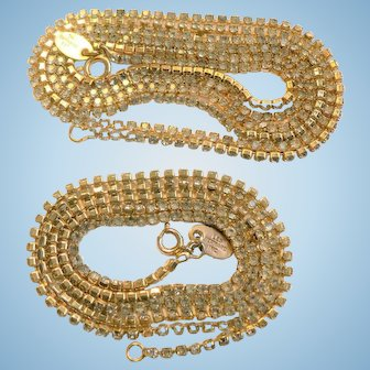 "Vtg. 1960's Les Bernard Rhinestone Chain Necklace Chains Set in Gold Tone (2) - (24"") & (36.5"")"