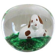 Vintage Art Glass Sulphide Beagle Dog Paperweight