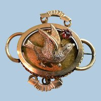 Victorian Gold Filled Watch Pin Raised Bird with Ruby Colored Stone Etruscan Design