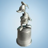 """Vintage Disney Pewter Thimble """" Donald Duck """" Topper in Org. Case"""