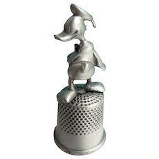 "Vintage Disney Pewter Thimble "" Donald Duck "" Topper in Org. Case"