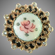 Vintage CORO Signed Guilloche Handpainted Rose & Rhinestone Pin