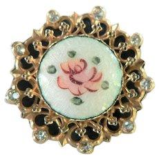 Vintage CORO Signed Guilloche Handpainted Rose & Rhinestone Pin