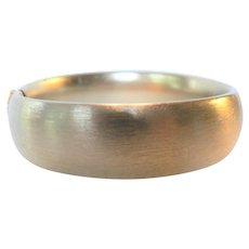 Vintage Wide Satin Finish Gold Fill Hinged Bangle Bracelet
