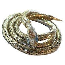 Mid Century Whiting & Davis Snake Belt/Necklace Goldtone Mesh & Rhinestone Adjustable