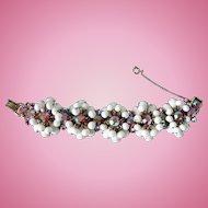 Juliana Cha Cha Dangle Milk Glass Bead & Aurora Borealis Chaton Rhinestone Bracelet