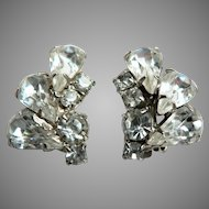 Beautiful Signed Weiss Clear Climber Clip Earrings