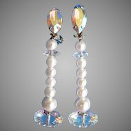 Lewis Segal Vintage Shoulder Sweep Long Clip Earrings Faux Pearl & Pastel Aurora Borealis Rivoli