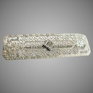 Vintage 1920s-30s Art Deco Rhodium Filigree Bar Pin