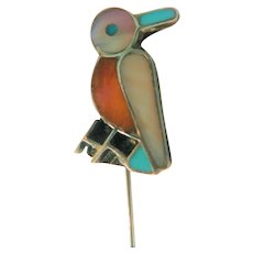 Handcrafted Sterling Native American Inlay Bird Stick / Hat Pin