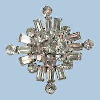 Dazzling Rhinestone Layered Domed Brooch / Pin Rhodium Backed