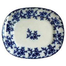Antique Rare Flow Blue Anemone Platter By Scottish / Scotland Lockhart & Arthur 1855-1864
