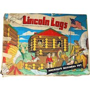 Vintage 1940's Lincoln Logs Toy Set with Metal Figures In Box