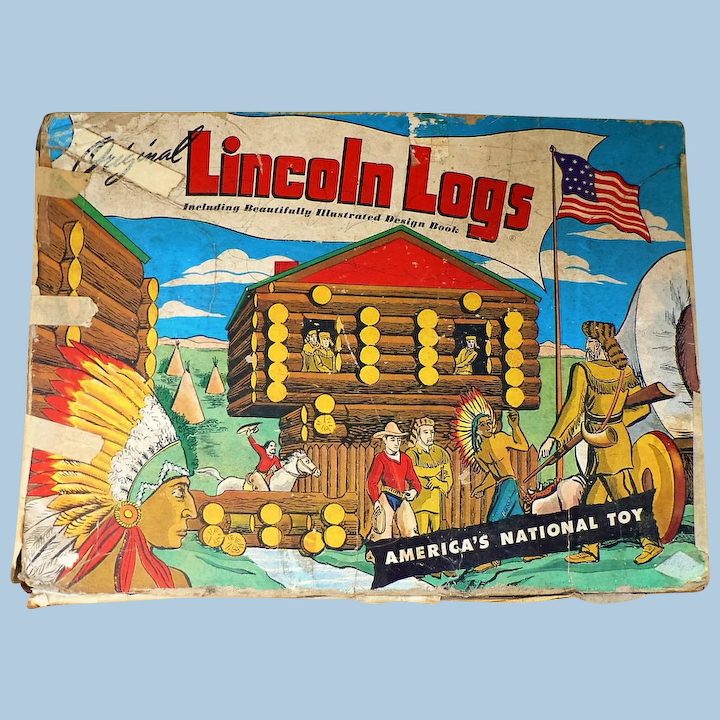 Lincoln Logs Toy Set With Metal Figures