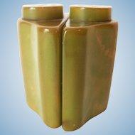 Vintage Bakelite Salt / Pepper Shakers Green with Corn Color Marbleized