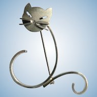 Vintage Beau Sterling Silver Modernist Cat Kitten Pin