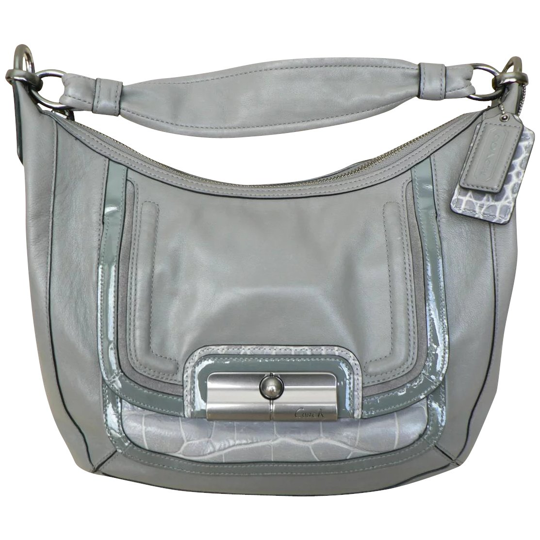 Coach Kristin Style Leather Purse Putty Gray Zip Carryall Shoulder Bag Pristine Condition
