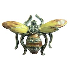 Vtg. Enamel & Rhodium Honey Bee Figural Insect Pin