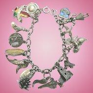 Sterling Silver Vintage Charm Bracelet 14 Charms