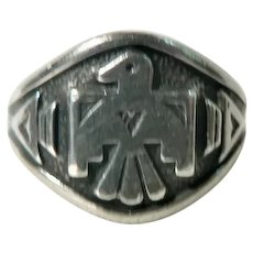 Vintage 1950's Bell Trading Post Old Pawn Sterling Silver Thunderbird Ring  Sz. 8.5