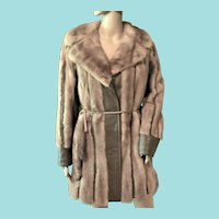 Vtg. 1970s Pastel Fawn Mink Fur Coat w/ Leather & Mink Tail Belt Top Quality Fur Coat Jacket Sz. S