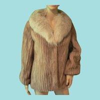Vintage Luxury Genuine Autumn Haze Mink Coat with Norwegian Fox Fur Collar S/M