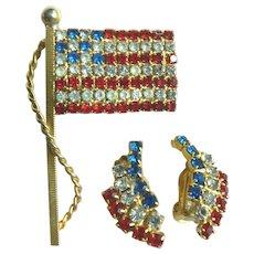 1960-70s Vintage Patriotic American Flag Pin & Earring Set
