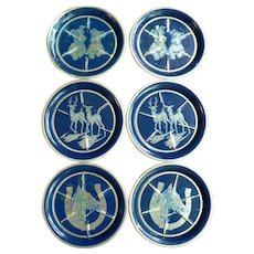 1950's Art Deco Set of 6 Aluminum & Enameled Animal Coasters