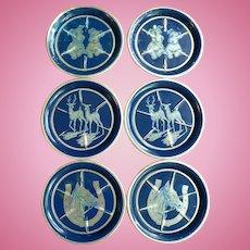 1950's Art Deco Set of 6 Aluminum & Enameled Animal Coasters
