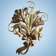 LARGE 12K Yellow & Rose Gold Filled on Sterling Silver Art Nouveau Style Floral Pin