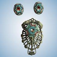 Circa 1900 Italian Micro Mosaic Filigree Pendant & Matching Earrings
