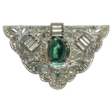 Art Deco Dress / Fur Clip with Emerald Colored Cabochon & Rhinestones