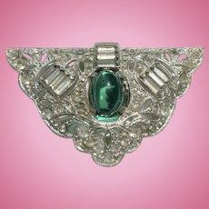 Art Deco Dress / Fur Clip with Emerald Colored Cabochon & Rhinestones