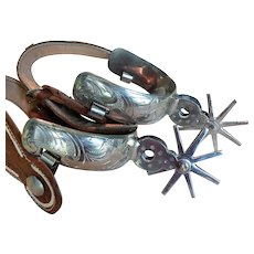 Vintage Western Style Nickel-plated & Tooled Leather Spurs