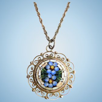 """Vintage Micro Mosaic """"Forget Me Not"""" Millefiori Floral Necklace"""