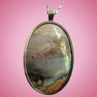 Vintage Picture Agate Landscape Pendant Necklace with Sterling Silver Bezel Frame